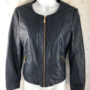 Alfani dark navy faux leather jacket